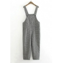 Mori Girl Style Plaid Print Women's Woolen Overalls