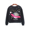 Fashion Preppy Style UFO Print Pullover Sweatshirt with Long Sleeve