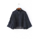 New Layered Ruffle Bell 3/4 Length Sleeve High Neck Sheer Shirt