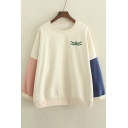 Contrast Panel Long Sleeve Embroidery Dragonfly Pattern Pullover Sweatshirt