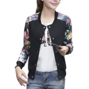 Women's Casual Slim Fit Round Neck Floral Print Baseball Bomber Jacket