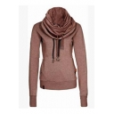 Fashion High Neck Plain Pullover Sweatshirt with Two Pockets