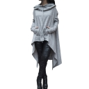 Stylish High Low Hem Solid Color Tunic Hoodie