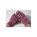 Half Finger Cable Knit Fashion Wool Gloves with Buttons