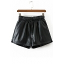 Fashion Elastic Waist Stylish PU Women's Shorts