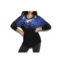 Blue Galaxy Print Fashion Round Neck Pullover Batwing Sleeve Women's Sweatshirt