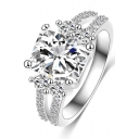 Classical Silver Zircon Ring with Diamond