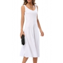 Sleeveless Scoop Neck Elegant Solid Color Women's A-Line Maxi Dress