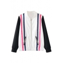 New Style Striped Color Block Long Sleeve Stand Collar Zip Up Baseball Jacket