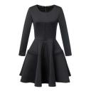 Fashion Black Long Sleeve Round Neck Zip Back A-line Midi Dress