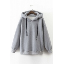 Plain Thick Hooded Dropped Long Sleeve Zip Side Hoodie