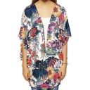 Vintage Women Girls Floral Print Long Loose Kimono Jacket Coat Cardigan Blouses
