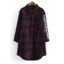 Tunic Plaid Letter Print in Long Sleeve Lapel Single Breasted Button Down Shirt