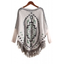 Stylish Geo Pattern Tassel Hem Knit Cape Sweater