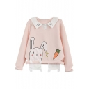 Fashion Cute Rabbit Carrot Lapel Sweatshirt with Cut Out Detail