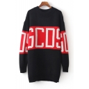 Round Neck Letter Print Contrast Pullover Sweater