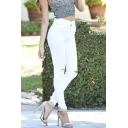High Waist Stretchy Skinny Jeans in Black White