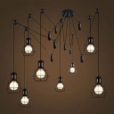 Industrial Style 8-Lt Multi-light Pendant with Wire Guard