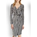 Fashion Houndstooth V-Neck Belt Waist Wrap Hem Long Sleeve Midi Dress