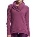 Cowl Neck Asymmetrical Hem Long Sleeve Plain Women's Sweatshirt
