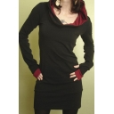 New Design Contrast Cuff Long Sleeve Women's Plain Pullover Hoodie