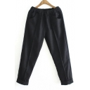 Women's Fashion Solid Elastic Waist Pants with Pockets