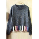 Fashion Tassel Elastic Trim Long Sleeve Sweater Knitted with Colorful Line