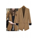 OL Style Notched Lapel Contrast Cuffs Open-Front Blazer