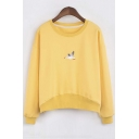 Fashion Bird Embroidery Round Neck Long Sleeve Sweatshirt