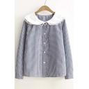 Cute Peter Pan Collar Single Breasted Plaid Shirt