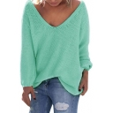 Women's V Neck Solid Color Loose Pullover Thin Sweater