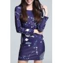 Elegant Galaxy Print Long Sleeve Shift Mini Dress