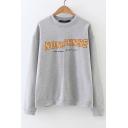 New Design Round Neck Letter Print Long Sleeve Pullover Sweatshirt