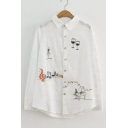 New Stylish Lapel Embroidery Cartoon Pattern Single Breasted Button Down Shirt