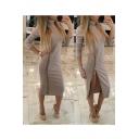 Elegant High Neck Zip Side Long Sleeve Plain Midi Bodycon Dress