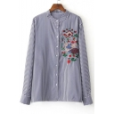 Stand-Up Collar Floral Birds Embroidery Stripe Print Shirt