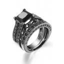 Fashion Black Gold Zircon Ring with Square Faux Diamond