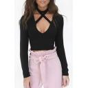 Crisscross Plunge Neck Long Sleeve Plain Women's Crop Top