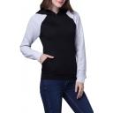 Trendy Hooded Contrast Raglan Long Sleeve Plain Hoodie with Kangaroo Pocket