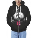 Fashion Unisex Panda Print Hooded Zipper Placket Zip Up Hoodie