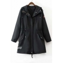 Fall Winter Hooded Drawstring Waist Zipper Letter Print Wind Coat with Long Sleeve
