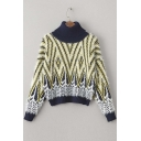 New Contrast Trim High Neck V Striped Color Block Dropped Long Sleeve Sweater