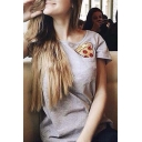 Fashion Pocket Pizza Print Short Sleeve Tee