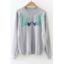 Round Neck Sequined Peacock Print Pullover Knit Sweater
