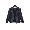 2016 Fall New Design PU Leather Zip Detail Women Jacket Coat