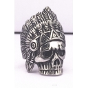 Unisex Retro Style Maya Skull Pattern Titanium Steel Ring