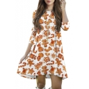 Fashion Print 3/4 Length Sleeve Round Neck Christmas Gingerbread Man Print Mini Swing Dress