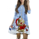 Lovely Snowflake Cat Print 3/4 Length Sleeve Mini Swing Dress