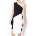 Elegant One Shoulder Color Block Asymmetrical Hem Pencil Midi Dress