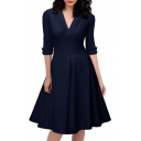 Elegant V-Neck Half Sleeve Oversize Chic A-Line Pleated Midi Dress
